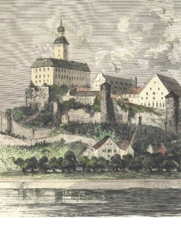 Horneck Castle, woodcut (1866)
